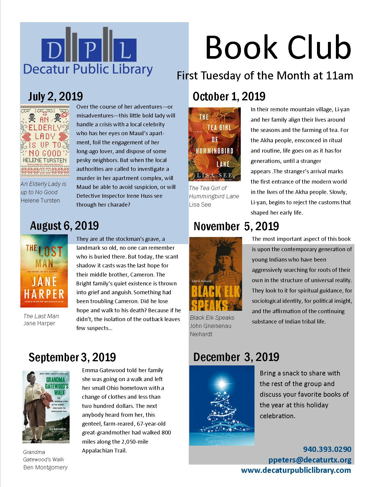Book Club Schedule July 2019 to Dec 2019