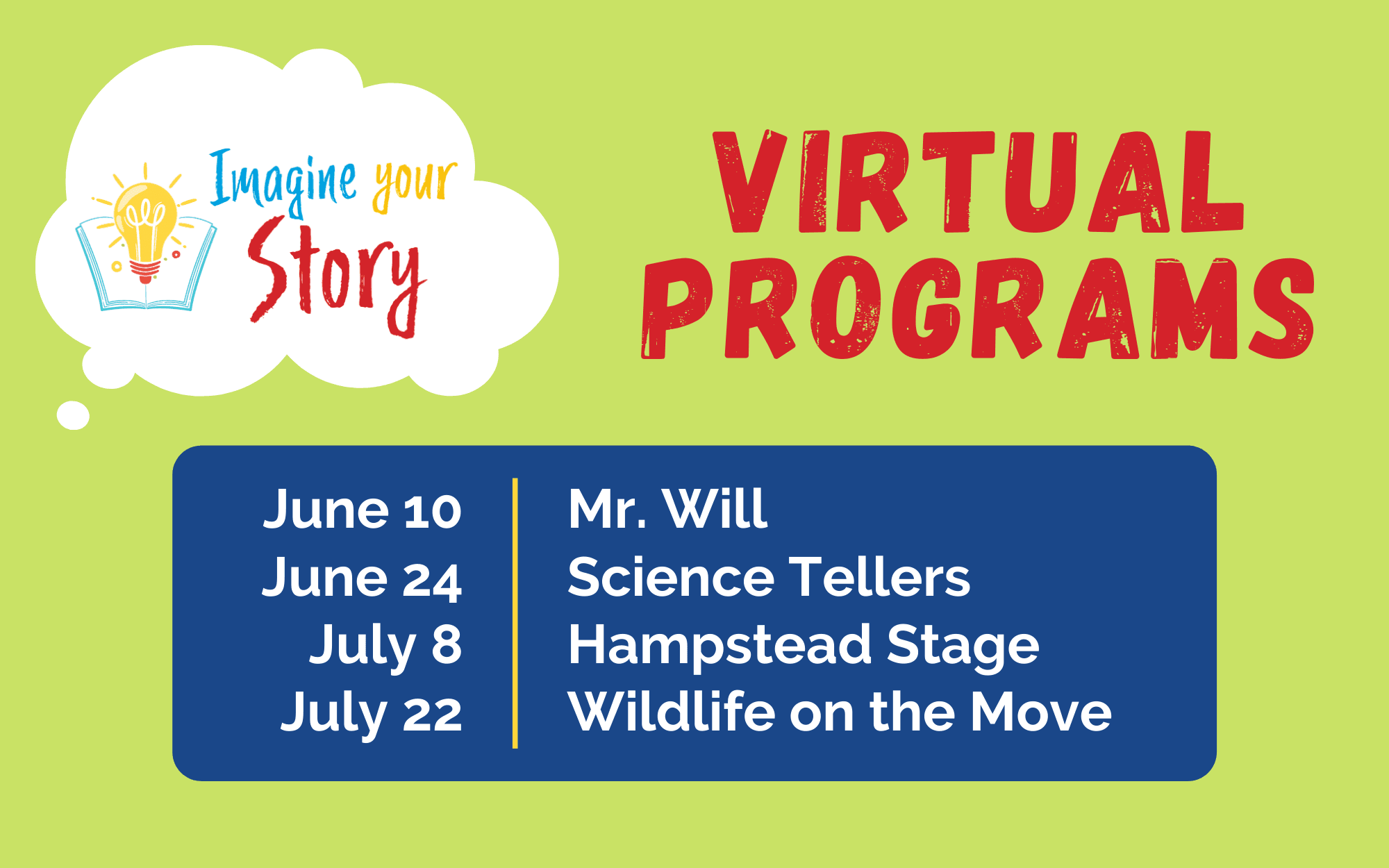 Imagine Your Story virtual programs